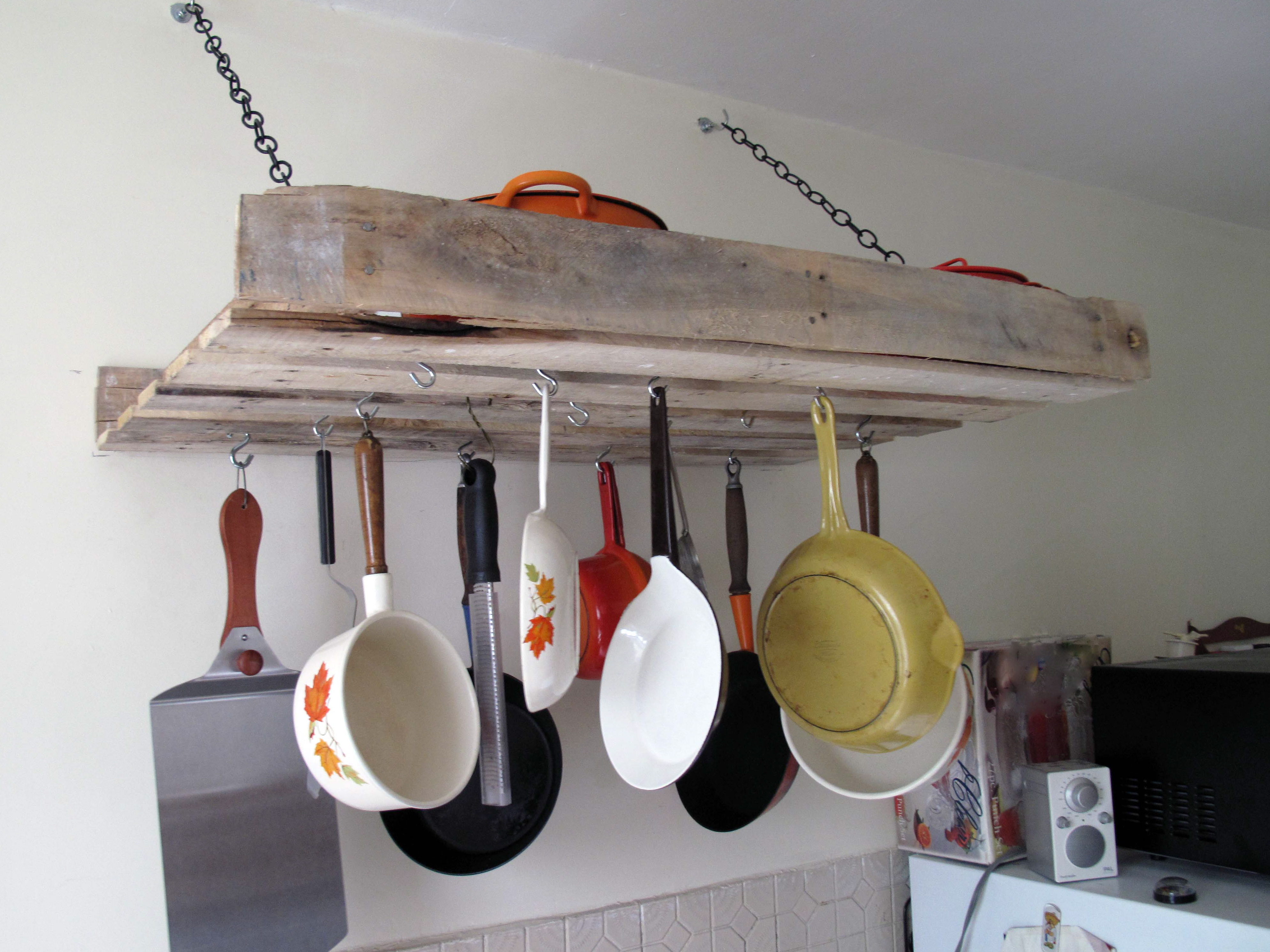 Upcycle An Old Wooden Pallet Into A Vintage Pot Rack