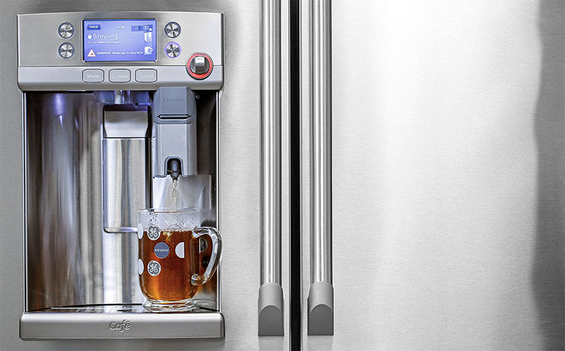 Ge Refrigerator With Keurig Coffee Maker Lowe S : Brew a Cup of Coffee with GE s Built-In Keurig Refrigerator Appliance Video