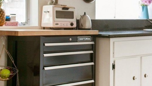 Add More Vertical Space in a Small Kitchen with a Tool Cart