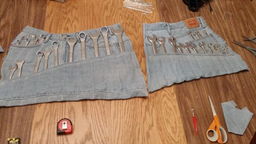 Sew Old Jeans into a Set of Roll-Up Wrench Holders