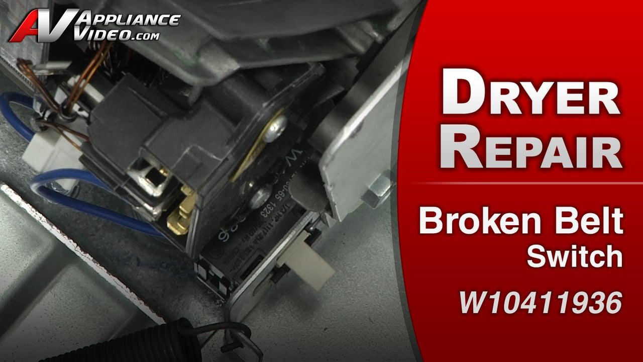 Maytag MED4200BW0 Dryer – No start – Broken Belt Switch