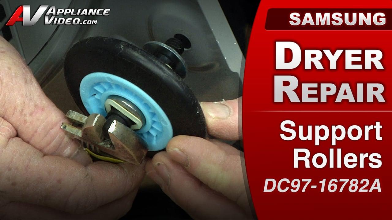 Samsung DV422EWHDWR Dryer – Squealing sound – Front Support Roller