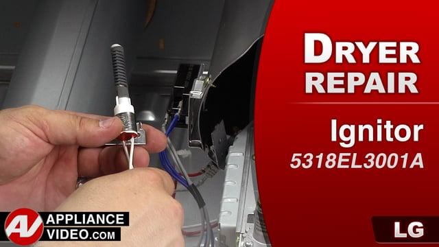 LG DLGX9001W Gas Dryer – Dryer not heating – Ignitor
