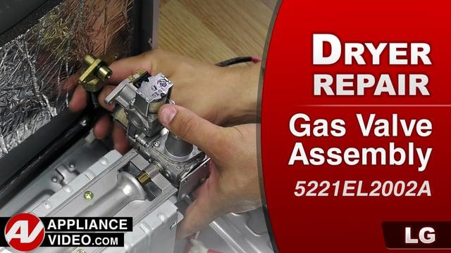 LG DLGX9001W Gas Dryer – Dryer not heating – Gas Valve Assembly