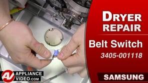 Samsung DV45K6200GW Dryer – Will not start – Belt Switch